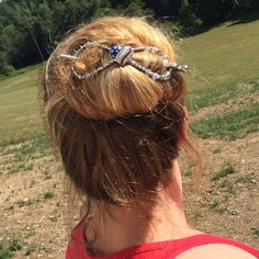 It's just a messy mom bun, but on really hot days like we're having this summer, I love having a flexi clip to keep my long hair up! The pretty sparkly patriotic heart stars and stripes, red, white, and blue are all added bonuses! #SheGlowsinLillaRose