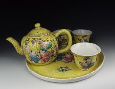 Rose Tea pots | ... about Set of Chinese Antique Famille Rose Porcelain Tea Pot and Cups