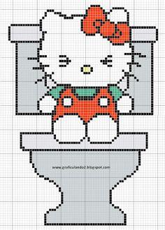 Ponto cruz: Hello kitty