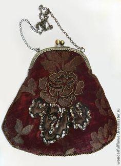 Вечерняя сумочка с фермуаром - бордовый,сумка ручной работы,сумочка с фермуаром