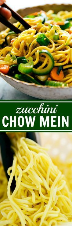 20-minute ZUCCHINI chow mein noodles with spiralized zucchini. An easy, healthier, and delicious take on chow mein