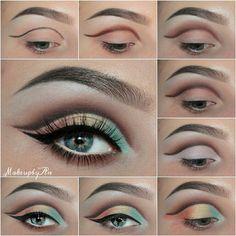 Green yeallow and coral rainbow eye makeup #tutorial #maquiagem #evatonadoblog Радужный макияж