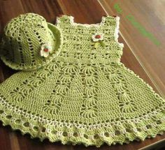 all free crochet, crochet baby dress, crochet dress, croch Baby Girl Crochet, Crochet Baby Clothes, Crochet For Boys, Baby Patterns, Knitting Patterns, Crochet Patterns, Vestidos Bebe Crochet, Girl With Hat, Beautiful Crochet