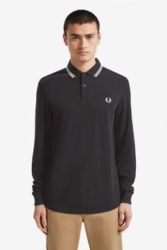 Buy Fred Perry Long Sleeve Twin Tipped Poloshirt from the Next UK online shop Fred Perry Shirt, Celebrity Closets, Celebrity Style, Twin Tips, Tennis Shirts, Tennis Fashion, Clothes For Sale, Nike Clothes