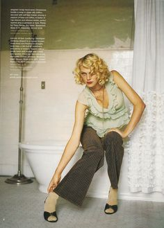 """Manor-Themed Catalogue Shoot, Anthropologie Autumn 2004 - 1. From the same catalogue as the library-themed shoot, this one was more 1920s-inspired """"weekend in the country.""""  Yay curls and pinstripes!"""