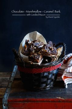 Chocolate, Marshmallow, Caramel, and Candied Bacon Bark @sharedappetite