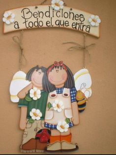 Niños bienvenidos Estilo Country, Country Style, Doll Painting, Painting On Wood, Wood Projects, Projects To Try, Handmade Angels, Wooden Cutouts, Arts And Crafts