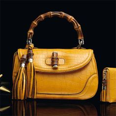 Gucci ~ new bamboo yellow crocodile top handle bag #unwrapgucci  http://on.gucci.com/bamboo_y