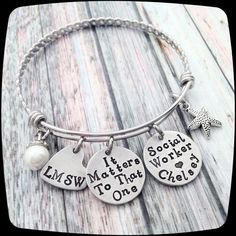 Social Worker Gift, Counselor Bangle Bracelet, Therapist Gift, Therapy Bracelet, BSW, MSW, lsw, csw, lpc, ma