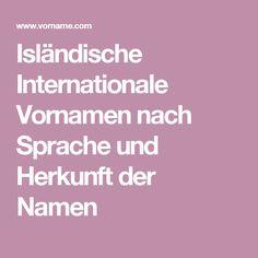 Isländische Internationale Vornamen nach Sprache und Herkunft der Namen
