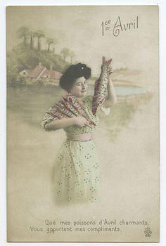 Edwardian Lady April Fool Day Lucky Fish original vintage 1910 photo postcard ab