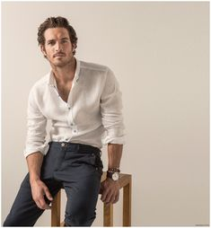Justice Joslin for Massimo Dutti EQ Collection SS 2015 Formal Men Outfit, Outfits Casual, Stylish Mens Outfits, Mode Outfits, Men Casual, Fashion Outfits, Justice Joslin, Herren Style, Look Man