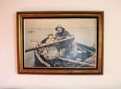 The Helping Hand 1881 Émile Renouf art reproduction 1950s large gilt velvet frame print on canvas French painting art by TheIrishBarn on Etsy