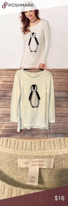 """LC Lauren Conrad Penguin Sweater Size Medium LC Lauren Conrad penguin sweater. Size medium. Good used condition. Normal wash wear. No stains/rips. Missing the 3D jeweled crown that came with sweater. Has side slits.  From armpit to armpit- 18"""" Length- 27"""" front ; 28.5"""" back   Bundle to save! Bundle your like(s) from my closet and I'll send you a private offer! Or send me an offer! I'll either accept or counteroffer. LC Lauren Conrad Sweaters"""