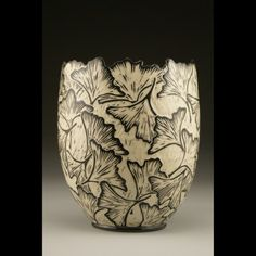 """Cut Top Ginkgo Vase"" Carved porcelain with sgraffito by Jennifer Falter Springfield Pottery, Springfield, Mo."