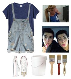 """""""Painting with Finn and Jack Harries"""" by seems99 ❤ liked on Polyvore featuring Monki, Gap and Converse"""