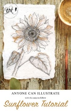 In the spirit of the arrival of fall, today I will teach you how to illustrate a sunflower. You'll need a pencil, a pen, gold watercolor, and a brush! Happy Flowers, Draw Flowers, How To Draw Sunflowers, Leaf Drawing, Painting & Drawing, Rock Painting, Finetec Watercolor, Sunflower Illustration, Sunflower Leaves