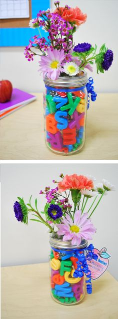 Put a twist on giving flowers for your teacher appreciation gift! Add Lakeshore's Magnetic Letters to a jar or vase, add a cup filled with water & place the flowers inside!
