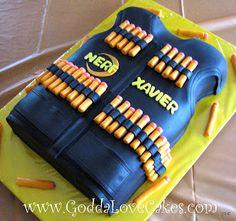 Nerf Vest Cake use orange candy to make darts.