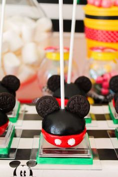 Cute cake pops at a Mickey Mouse birthday party! See more party planning ideas at CatchMyParty.com!