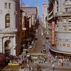 Powell Street at the bottom of Nob Hill, about five blocks from where Zodiac hailed a cab on Oct. 11, 1969.  (Note the Yellow Cab at the lower-left of the picture.)  San Francisco, Cal. circa 1960s.
