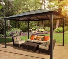 Comfortable Outdoor Metal Gazebos Patio with Polymer Flat Roof Covering also A Set of Rattan Outdoor Sectional Sofa on Top of Herringbone Pattern Concrete Pavers from Backyard Patio Ideas