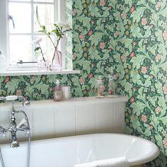 Leaf Trail by Galerie - Blue - Wallpaper : Wallpaper Direct Modern Bathroom Faucets, Bathroom Tile Designs, Modern Bathroom Design, Bathroom Interior Design, Small Bathroom, Bathroom Ideas, Contemporary Bathrooms, Bathroom Furniture, Master Bathroom