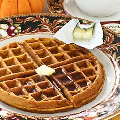 Fluffy, fragrant, and spicy Chai Gingerbread Pumpkin Waffles, perfect for the weekend or holiday breakfast