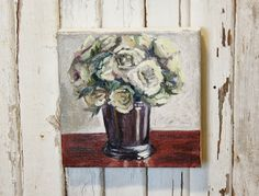 The Farmhouse Porch: My Paintings. Silver Cup with White Roses. Oil on Canvas by Linsey Sappington