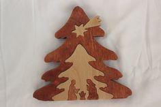 Hand Made Wood Nativity Christmas Tree Puzzle Diplay