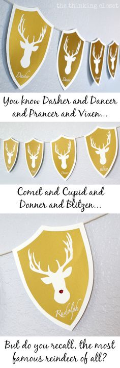 Deer Head Holiday Banner...featuring Santa's Reindeer!  A holiday twist on the classic deer head decor! Plus free Silhouette cut file!