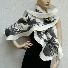 Nuno Felted Scarf Wool Silk Felt Art nunofelting by MajorLaura, $75.00