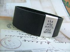 Military Wife Leather Cuff Bracelet with by MyBellaByLizLollar, $36.00