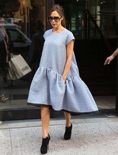 Victoria Beckham out and about in New York in the Victoria, Victoria Beckham dress from the spring/summer 2014 collection