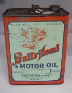 Bull's Head Motor Oil can