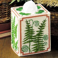 Leisure Arts - Ferns Tissue Box Cover Plastic Canvas Pattern ePattern, $2.99 (http://www.leisurearts.com/products/ferns-tissue-box-cover-plastic-canvas-pattern-digital-download.html)