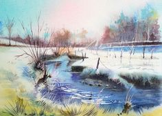 Paysage de neige «Frisquet 2» | Joël SIMON The Real World, French Artists, Various Artists, Creations, Watercolor, Abstract, Painting, Watercolor Artists, Watercolor Painting