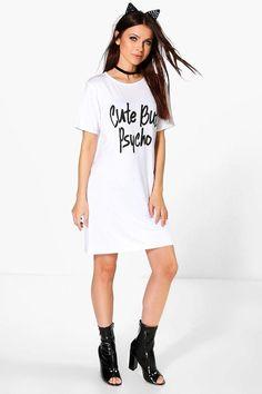 9e4d7136c97 boohoo Roxy Halloween Cute But Psycho Tshirt Dress Jersey Day