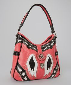 Take a look at the Montana West Pink & Black Rhinestone Wing Hobo on #zulily today!