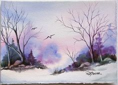 Winter Chill - watercolor by Rita Squier