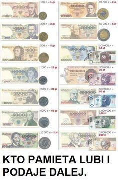 nominały banknotów...przed i po - wymianie
