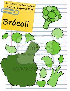 Nos han pedido hortalizas, y aquí van unas cuantas. Esperamos que os guste este monísimo brócoli para goma eva o fieltro.