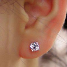 KnSam Women Rose Gold Plate Pierced Stud Earrings Square Checks Crystal Rhinestone Orange