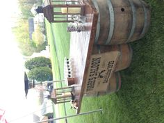 Western Rustic Bar Wine Barrels. This would be really cute for a wedding.