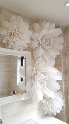 Paper Flower Decor, Wedding Flower Decorations, Giant Paper Flowers, Wedding Flowers, Table Decorations, Birthday Decorations, Birthday Backdrop, Pom Pom Decorations, Wedding Scene