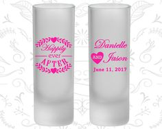 Happily Ever After, Frosted Tall Shot Glasses, Floral Wedding, Heart (274)
