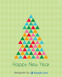 Happy New Year Greeting Card of a Christmas Tree done with Triangles of Various Colours