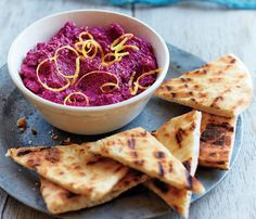 Mediterranean Dishes Under 400 Calories: Creamy Beet Dip. Pair it with pita wedges or with veggie dippers. #SelfMagazine
