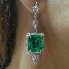 Emerald & Diamond Halo Chandelier Earrings in White Gold Finish Emerald Earrings, Emerald Jewelry, Pearl Stud Earrings, Gems Jewelry, Unique Earrings, Jewelry Gifts, Fine Jewelry, Unique Jewelry, Diamond Chandelier Earrings