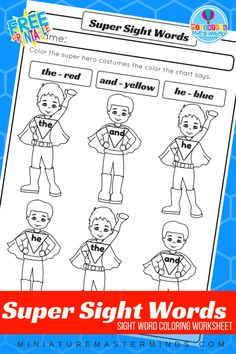 Super Sight Words Coloring Page For Kindergarten